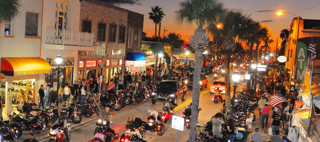 scene of motorcycles in Daytona Beach