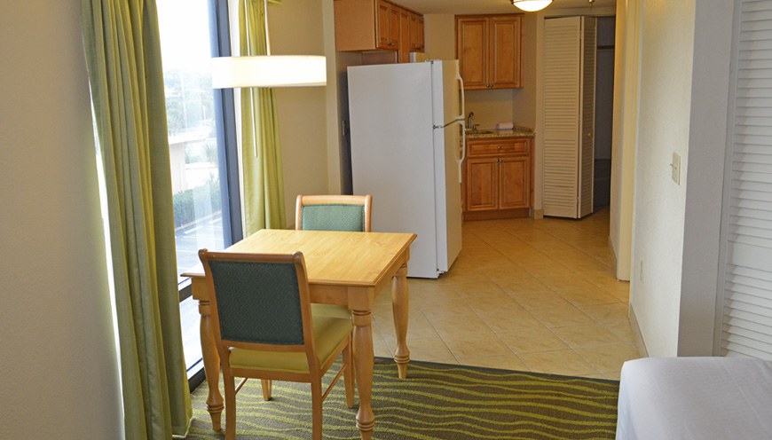 enlarged view of dining and kitchen area of guest room