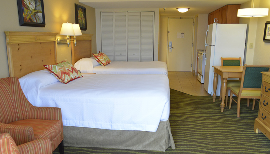 enlarged view of guest room and beds